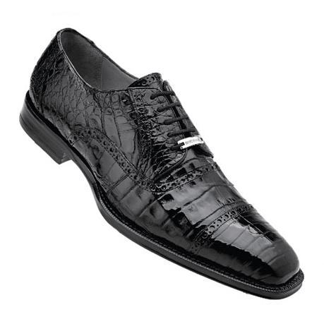 Belvedere Marcello Crocodile Cap Toe Brogues Black Image