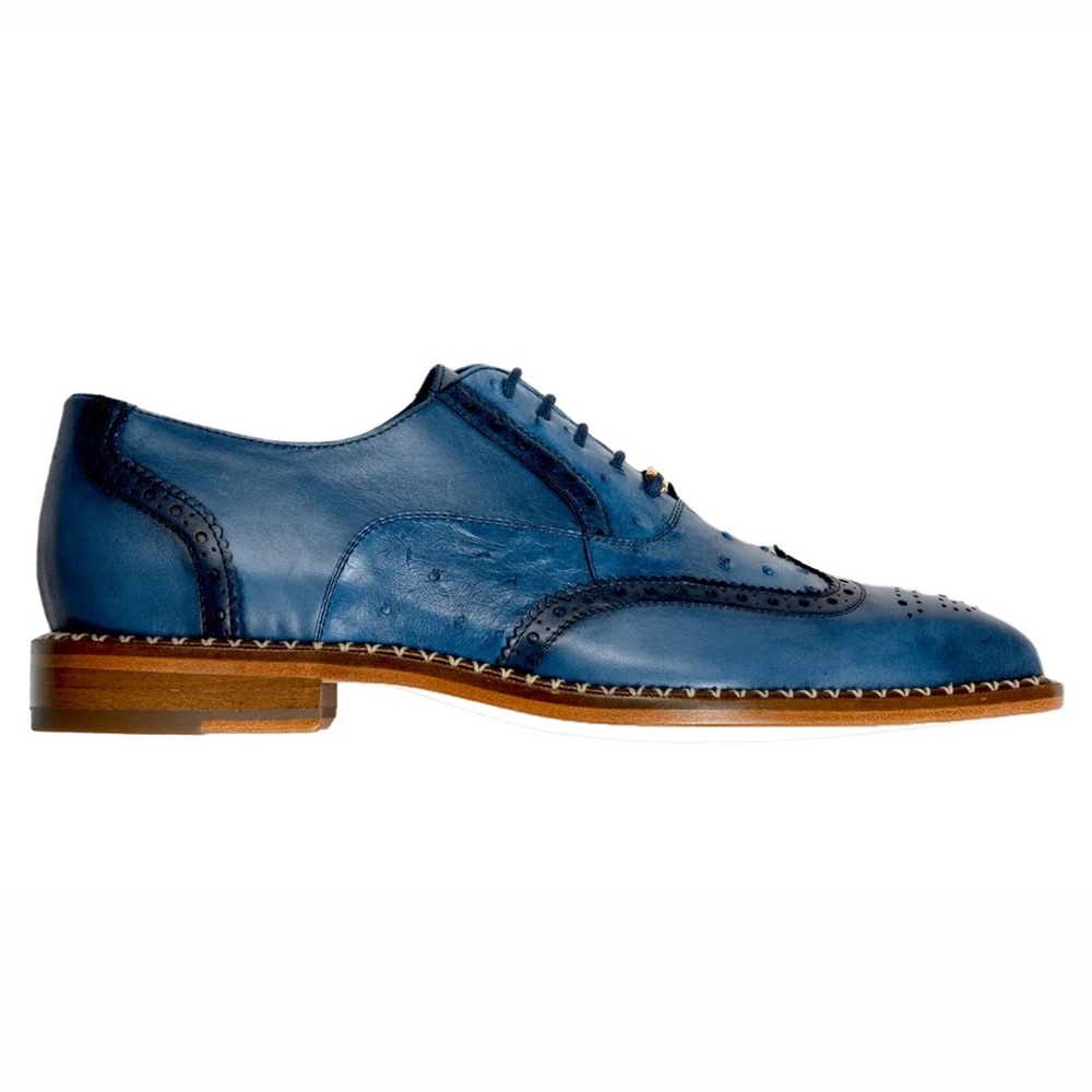 Belvedere Napoli Ostrich Quill / Calfskin Shoes Antique Blue Jean Image
