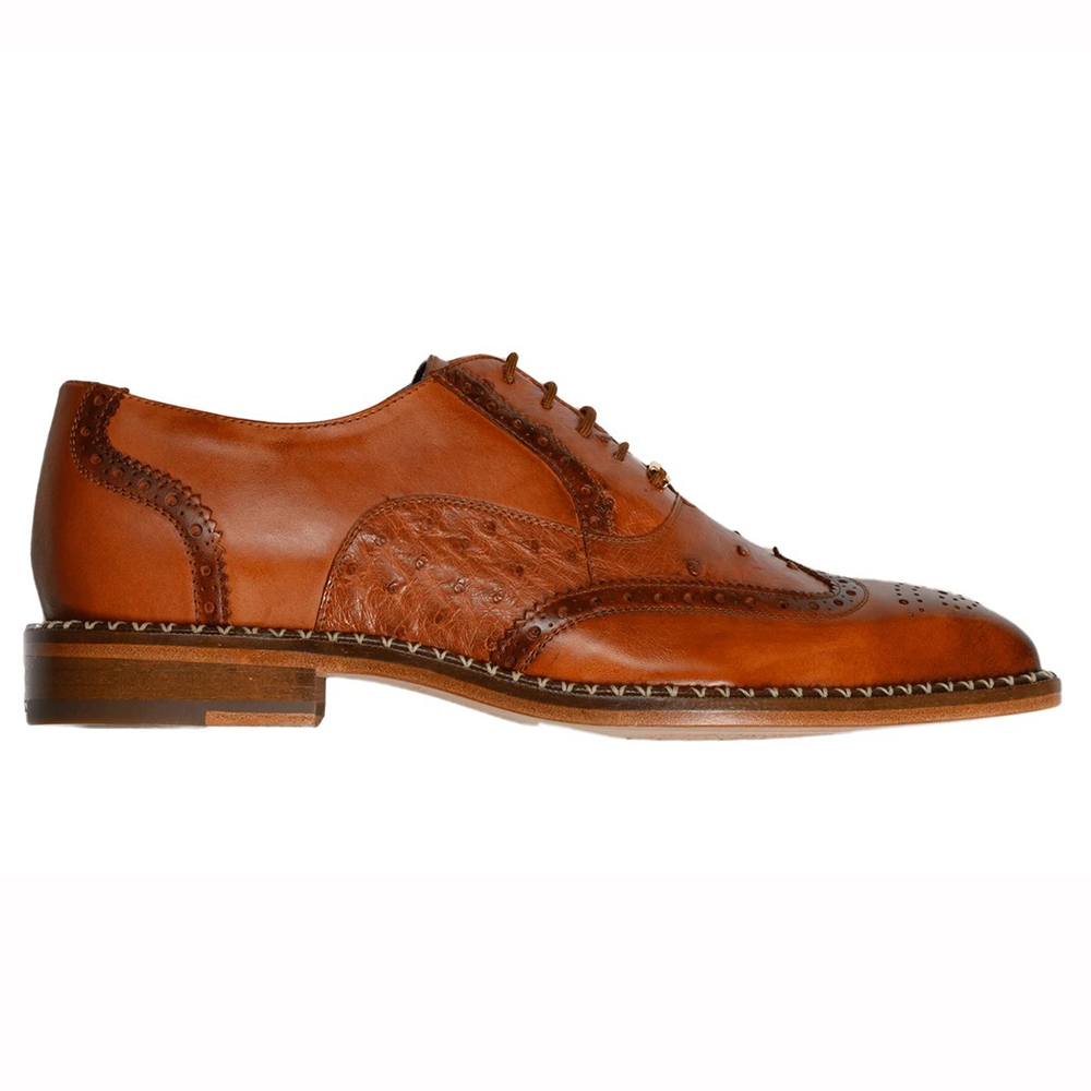 Belvedere Napoli Ostrich Quill / Calfskin Shoes Antique Brandy Image
