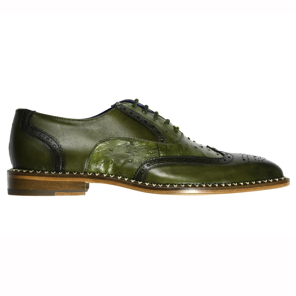 Belvedere Napoli Ostrich Quill / Calfskin Shoes Antique Emerald Image