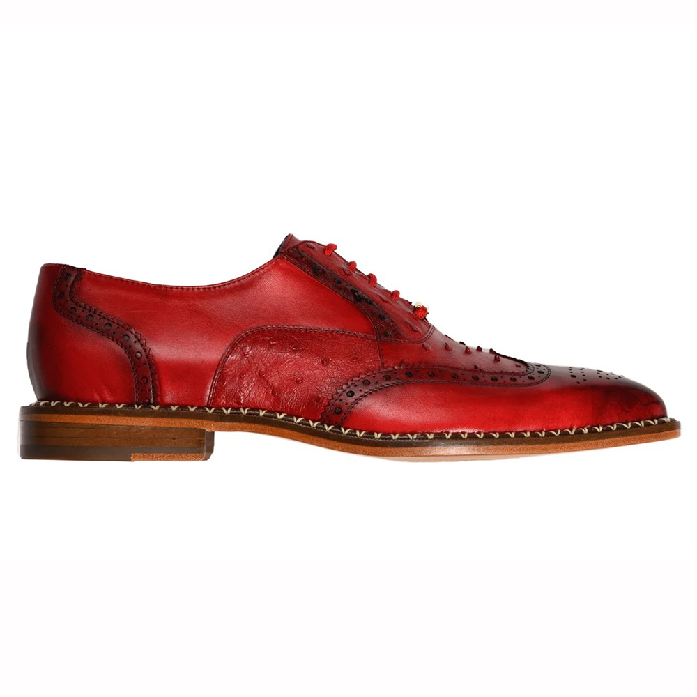 Belvedere Napoli Ostrich Quill / Calfskin Shoes Antique Red Image