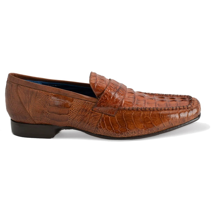 Belvedere Natale Caiman & Ostrich Loafers Brandy Image