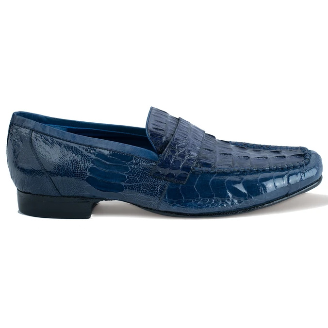 Belvedere Natale Caiman & Ostrich Loafers Navy Image
