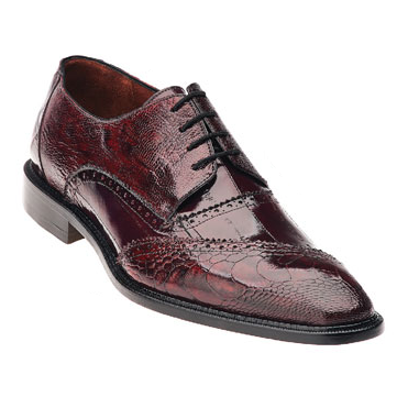 Belvedere Nino Eel & Ostrich Shoes Antique Red/Scarlet