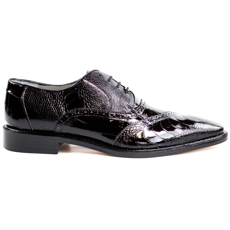 Belvedere Nino Eel & Ostrich Shoes Black Image