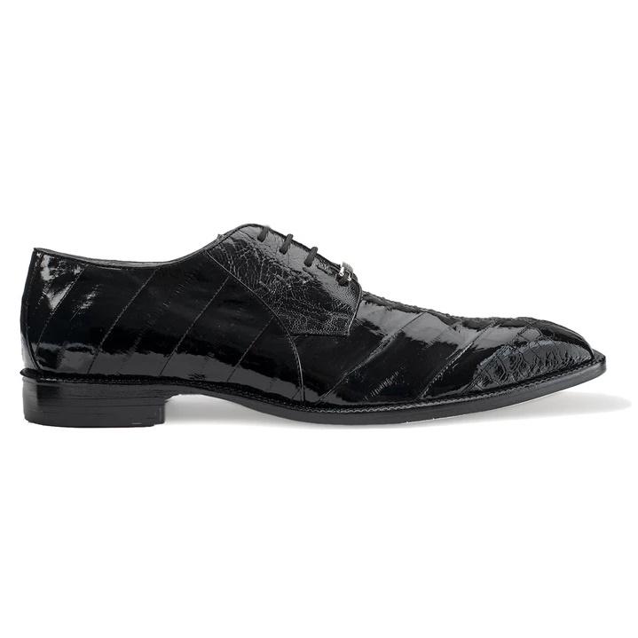 Belvedere Nome Eel & Ostrich Shoes Black Image