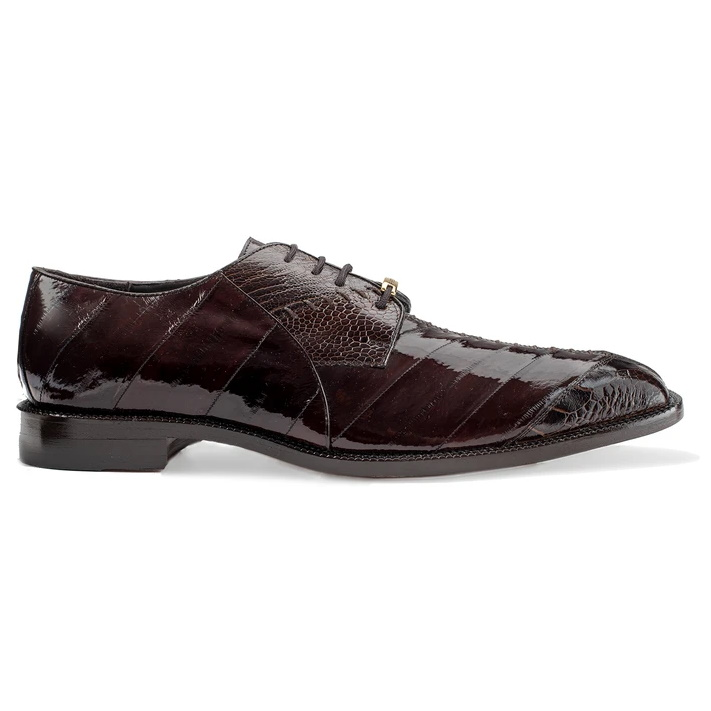 Belvedere Nome Eel & Ostrich Shoes Chocolate Image