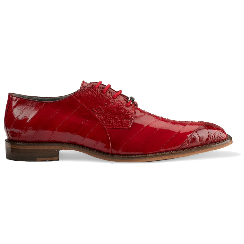 Belvedere Nome Eel & Ostrich Shoes Red Image