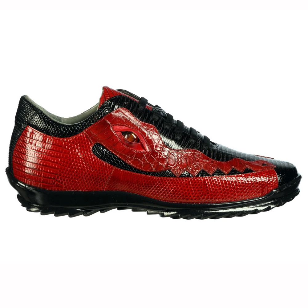 Belvedere Olaf Caiman Crocodile and Lizard Sneakers Black / Red Image