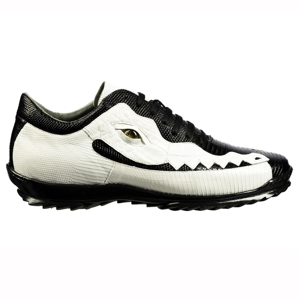 Belvedere Olaf Caiman Crocodile and Lizard Sneakers Black / White Image
