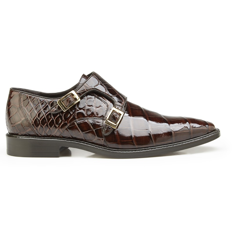 Belvedere Oscar Alligator Double Monk Strap Shoes Chocolate Image