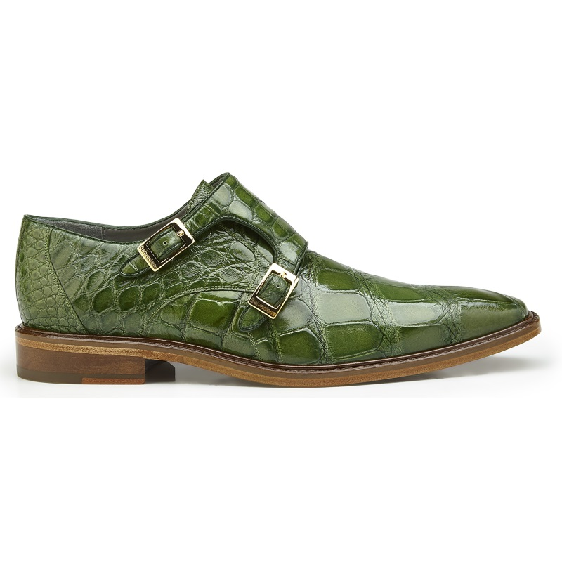 Belvedere Oscar Alligator Double Monk Strap Shoes Pistachio Image