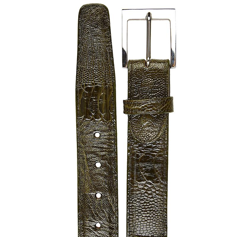 Belvedere Ostrich Leg Belt Olive Image