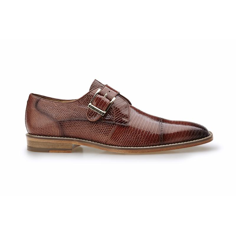 Belvedere Otto Lizard Monk Strap Shoes Antique Peanut