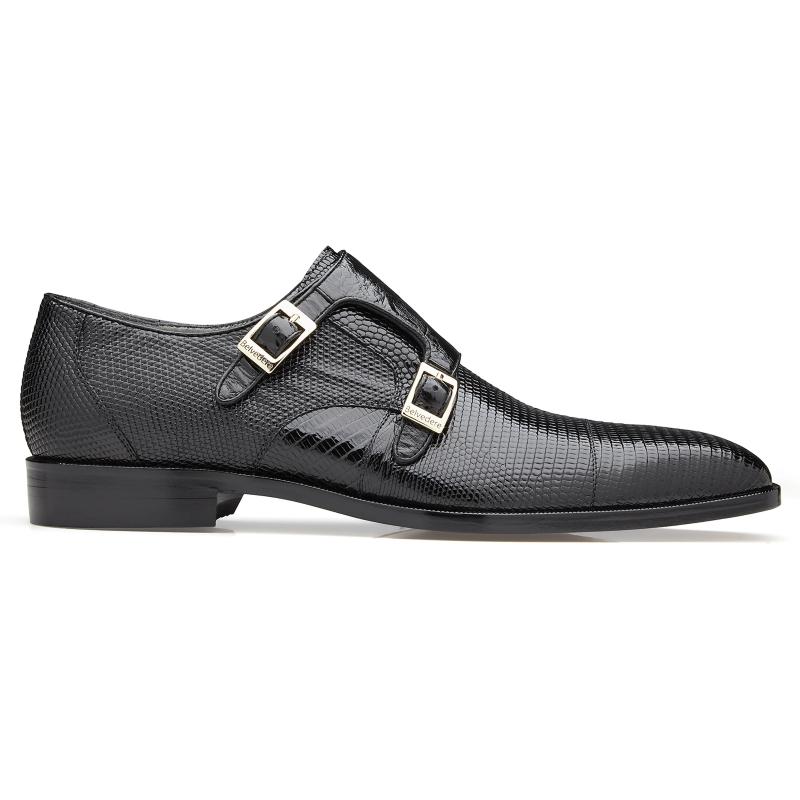 Belvedere Pablo Lizard & Ostrich Monk Strap Shoes Black Image