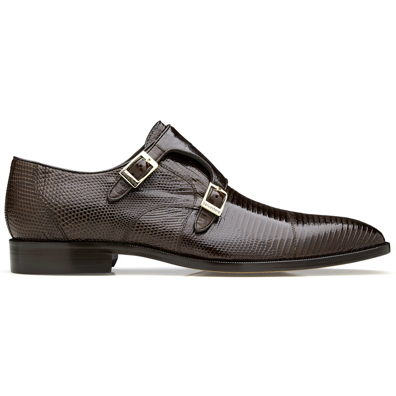 Belvedere Pablo Lizard & Ostrich Monk Strap Shoes Brown Image