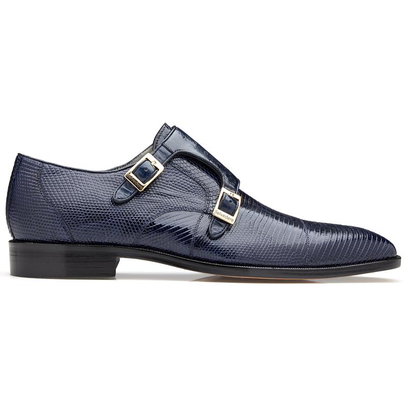 Belvedere Pablo Lizard & Ostrich Monk Strap Shoes Navy Image
