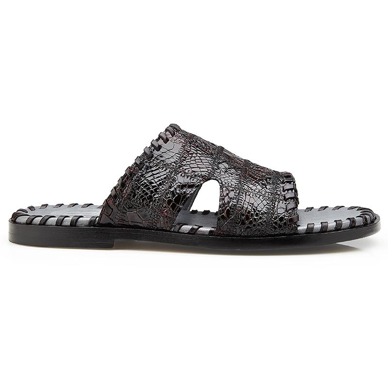 Belvedere Palma Crocodile Patchwork Sandal Black Cherry Image