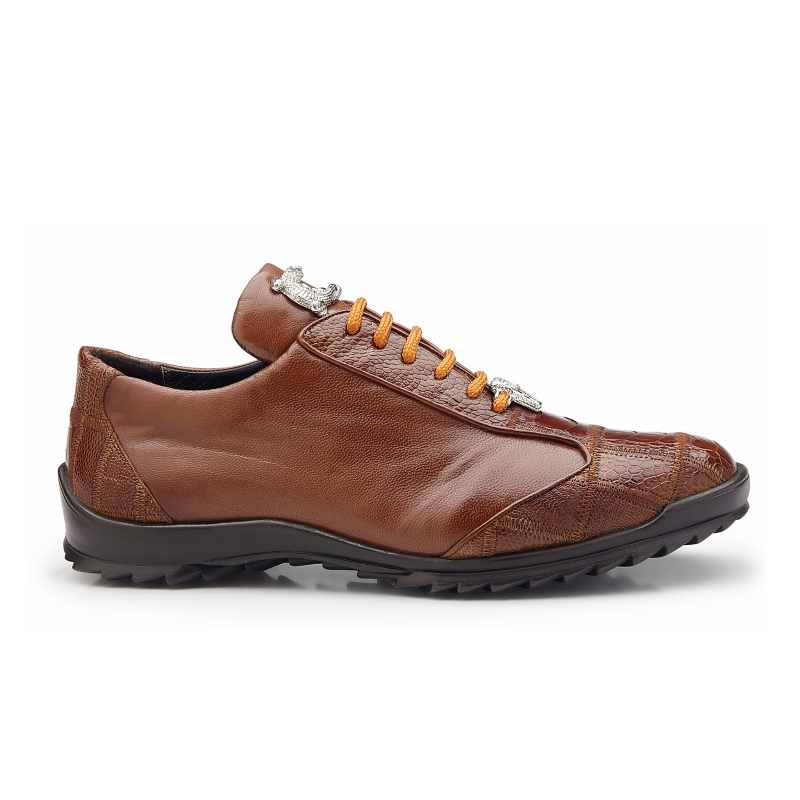 Belvedere Paulo Ostrich & Calfskin Sneakers Honey Image