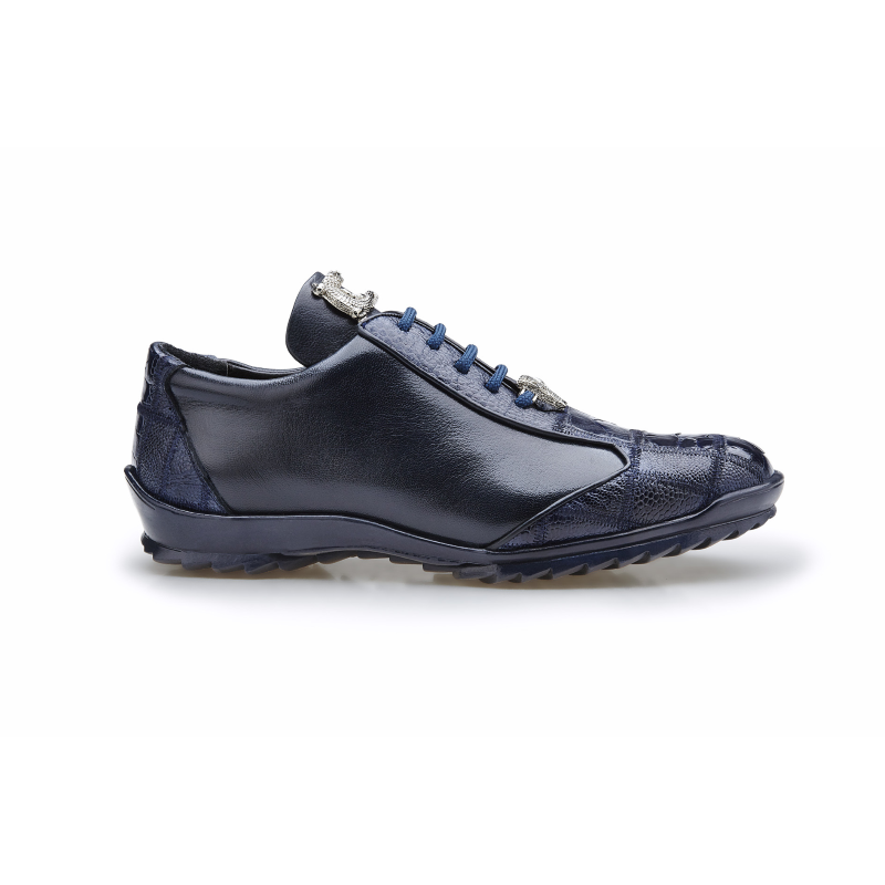 Belvedere Paulo Ostrich & Calfskin Sneakers Night Blue Image