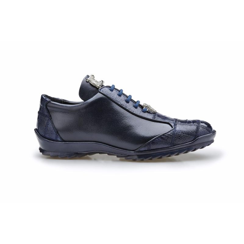Belvedere Paulo Ostrich & Calfskin Sneakers Night Blue Image