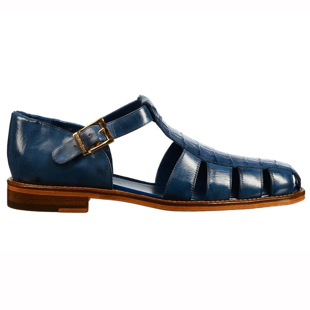 Belvedere Peter Caiman Crocodile and Calfskin Sandals Antique Blue Jean Image