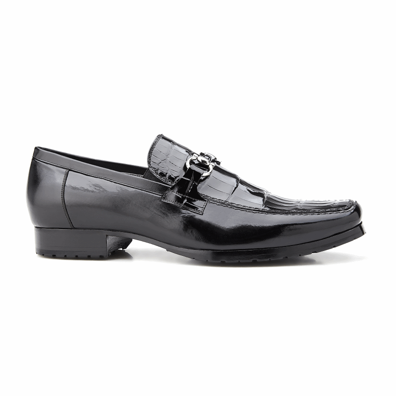 Belvedere Plato Alligator & Calfskin Bit Loafers Black Image
