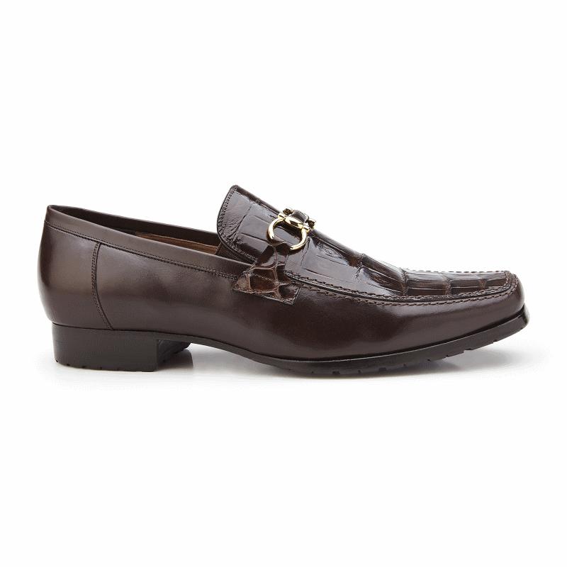 Belvedere Plato Alligator & Calfskin Bit Loafers Chocolate Image