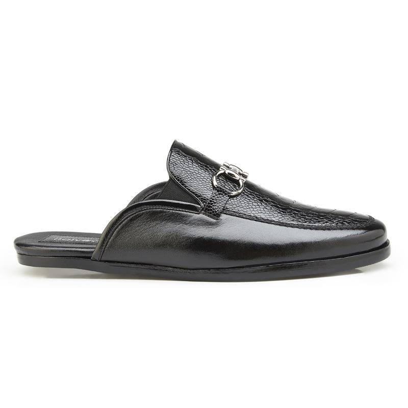 Belvedere Ray Ostrich Leg & Calfskin Sandals Black Image