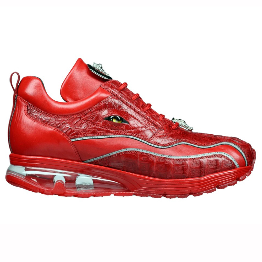 Belvedere Rexy Hornback Crocodile and Calfskin Sneakers Red Image