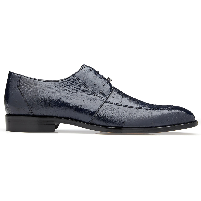 Belvedere Rovigo Ostrich Dress Shoes Navy Image