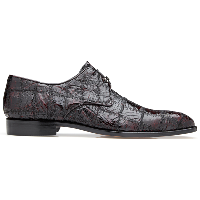 Belvedere Sabato Caiman Patchwork Dress Shoes Black Cherry Image