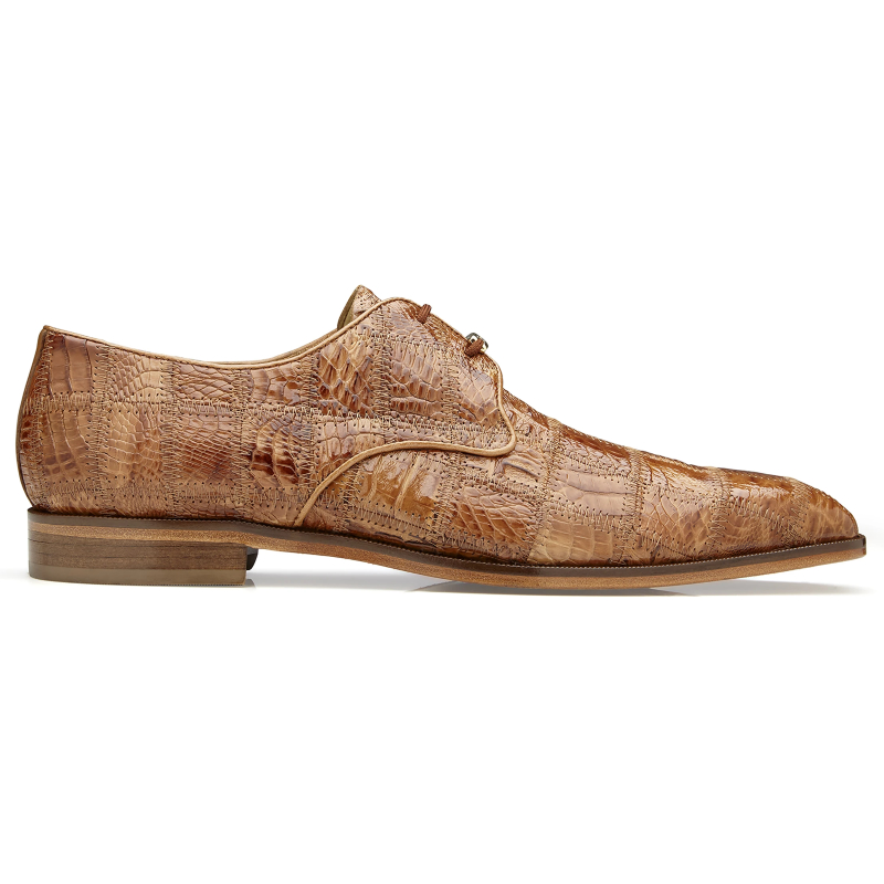 Belvedere Sabato Caiman Patchwork Dress Shoes Honey Image