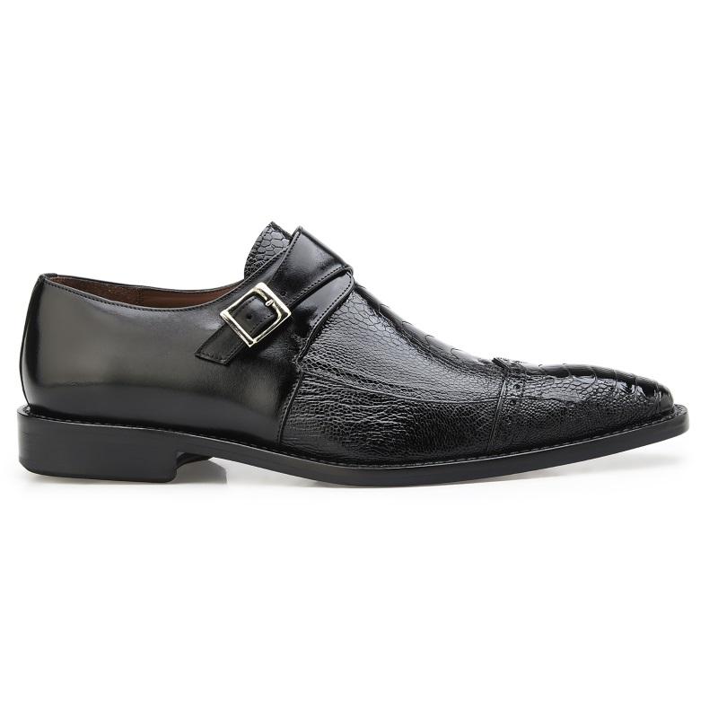 Belvedere Salinas Ostrich Monk Strap Shoes Black Image