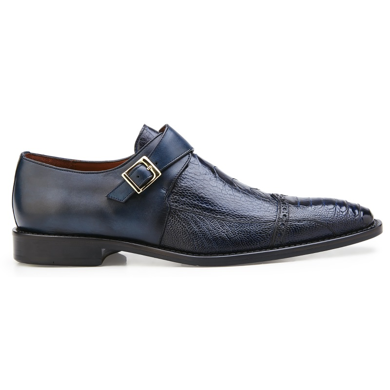 Belvedere Salinas Ostrich Monk Strap Shoes Blue Safari Image