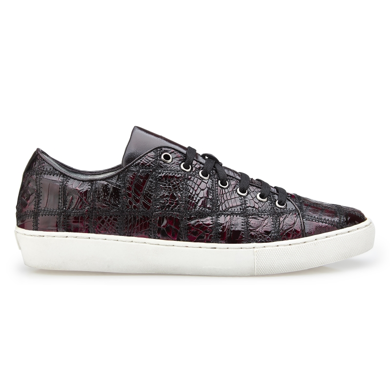 Belvedere Santo Crocodile Patchwork Sneakers Black Chery Image