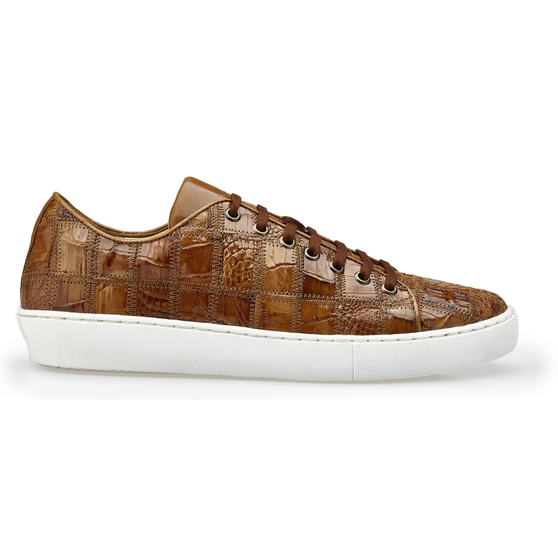 Belvedere Santo Crocodile Patchwork Sneakers Honey Image