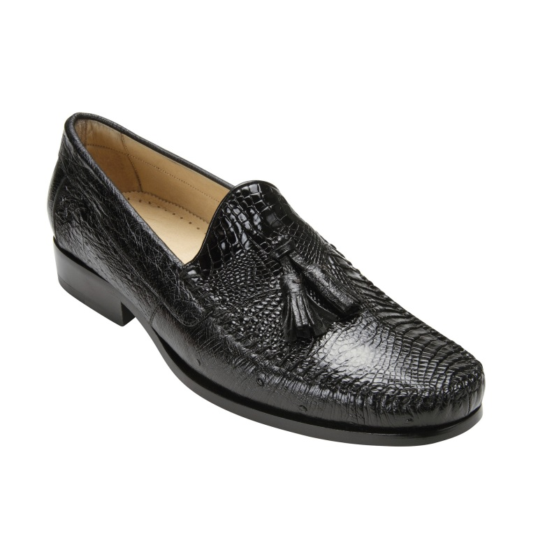 Belvedere  Bari Caimain & Ostrich Tassel Loafers Black Image
