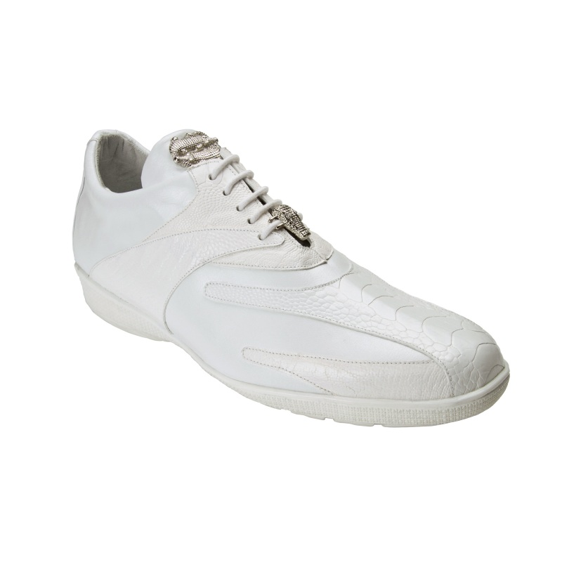 Belvedere  Bene Ostrich & Calfskin Sneakers White Image