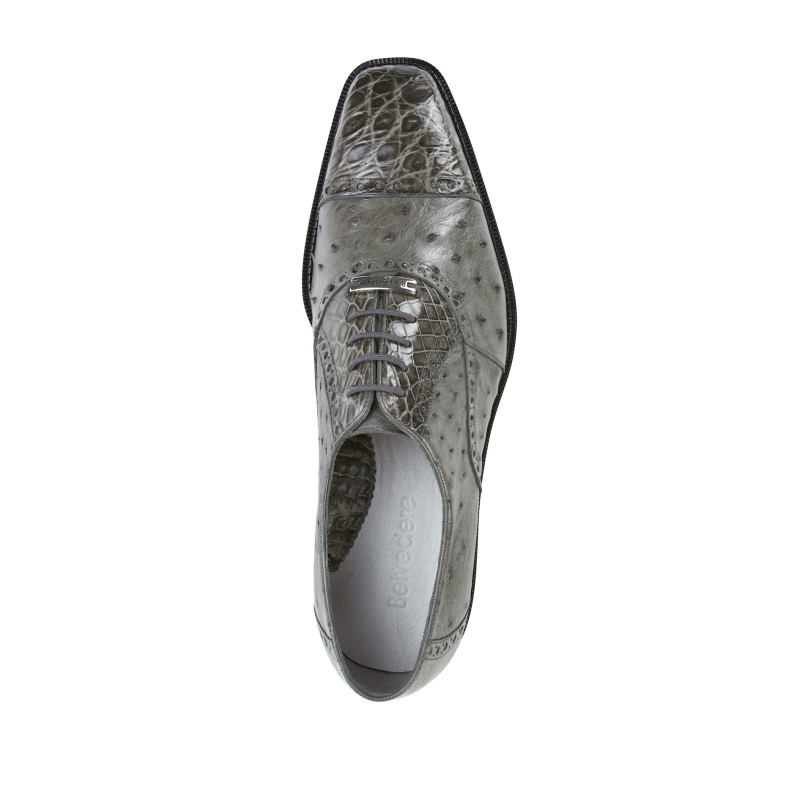 Belvedere Onesto II Ostrich/Crocodile Shoes Gray Image