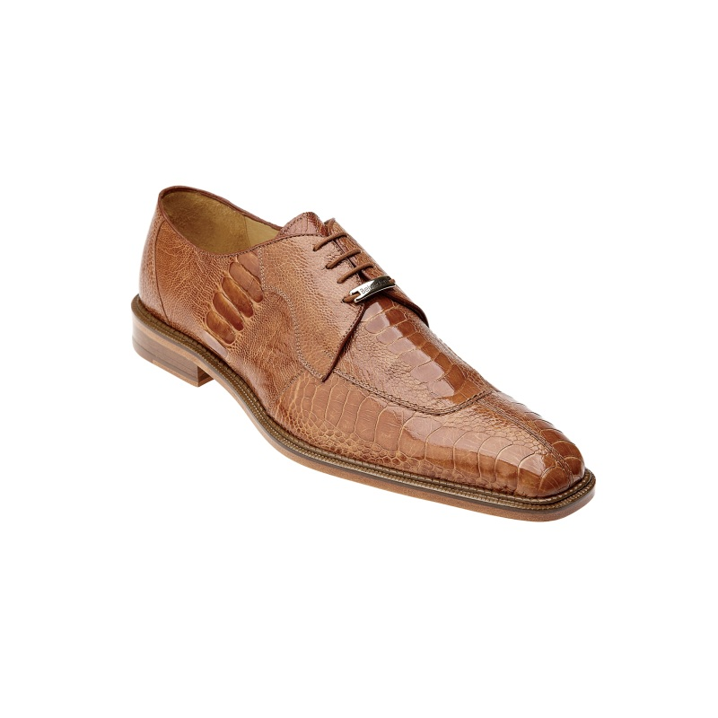 Belvedere Siena Ostrich Lace Up Shoes Burned Amber Image