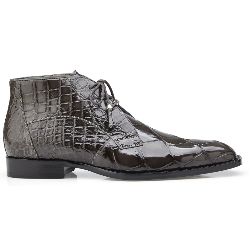 Belvedere Stefano Alligator Chukka Boots Gray Image