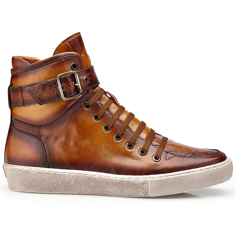 Belvedere Taylor Ostrich High Top Sneakers Antique Almond Safari Image