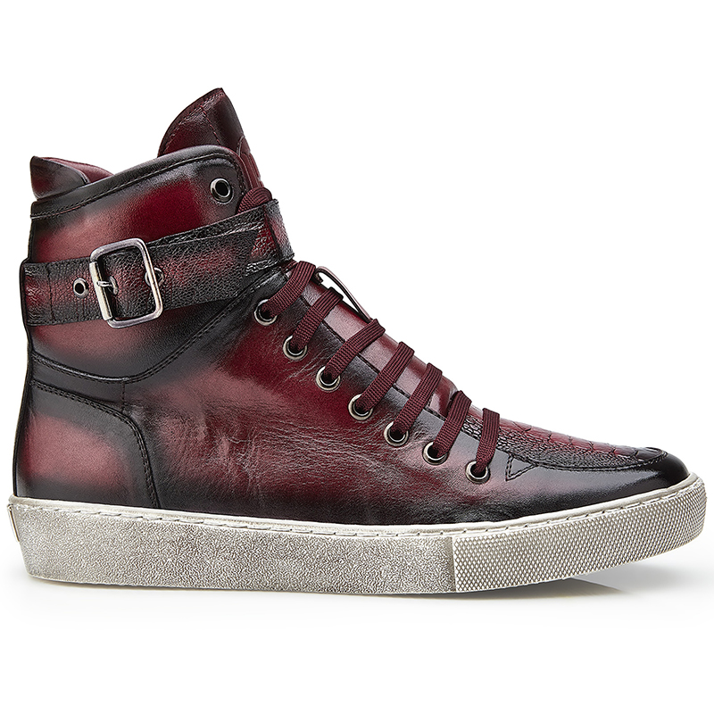 Belvedere Taylor Ostrich High Top Sneakers Antique Wine Safari Image