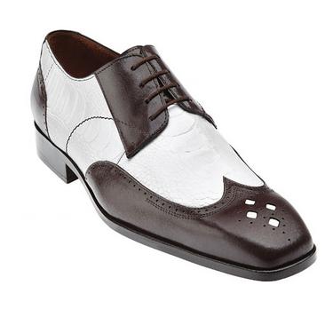 Tropea Ostrich & Calfskin Wingtip Spectator Shoes Brown / White