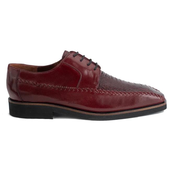 Belvedere Tyson Ostrich Leg & Calfskin Shoes Burgundy Image