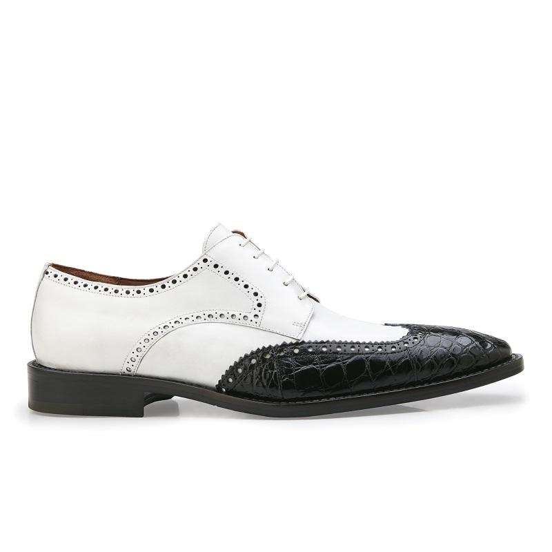Belvedere Urbano Alligator & Calfskin Wingtip Shoes White / Black Image