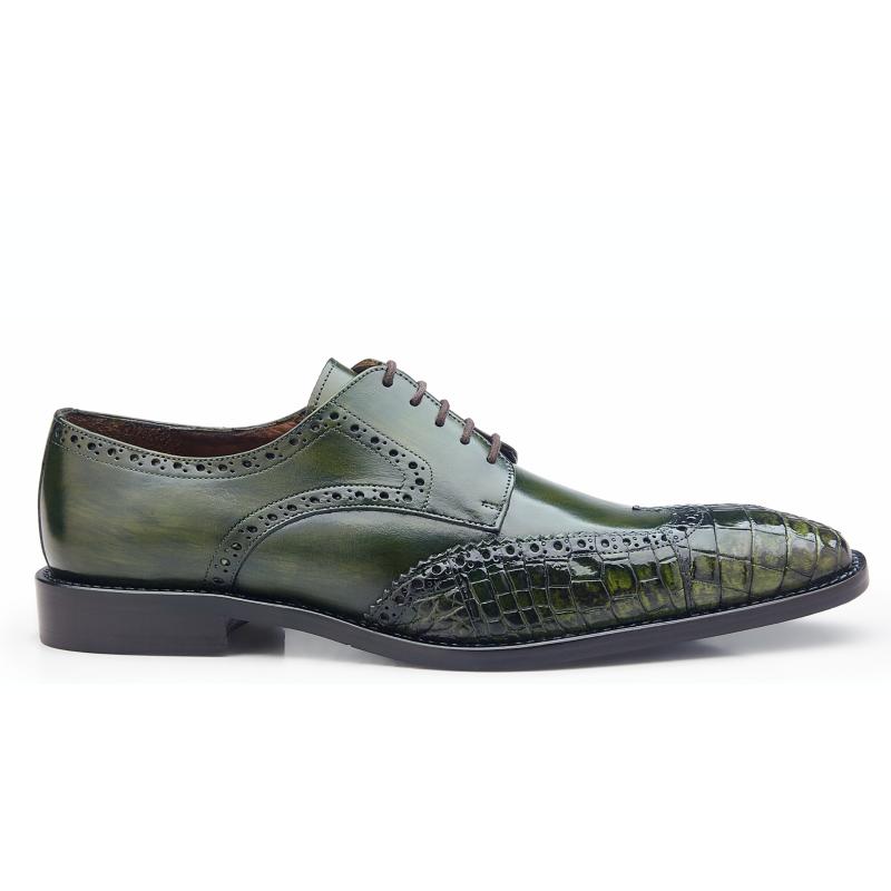 Belvedere Urbano Crocodile & Calfskin Wingtip Shoes Emerald Safari Image