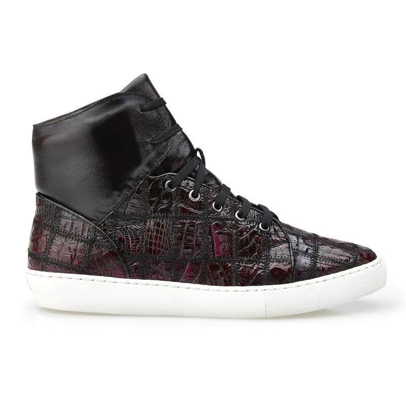 Belvedere Vero Crocodile Patchwork High Top Sneakers Black Cherry Image
