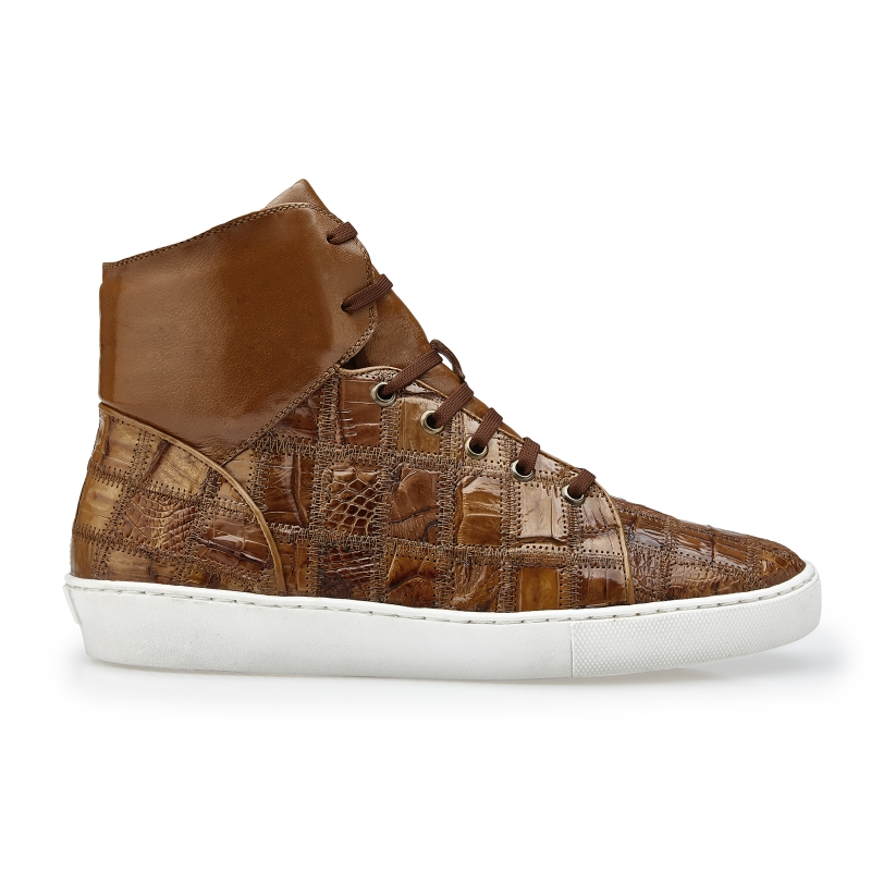 Belvedere Vero Crocodile Patchwork High Top Sneakers Honey Image
